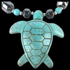 Turquoise Stone Turtle Pendant Hematite Bead Necklace