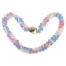 Flickering Pastel Crystal Bead Necklace - Two Strands of Gorgeous Aurora Borealis