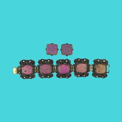 Weird Carnival Glass Bracelet Earrings Set - Changing Colors