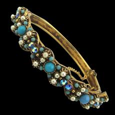 Florenza Jeweled Rhinestone Faux Pearl Bracelet