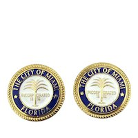 Enamel City of Miami Florida Cufflinks