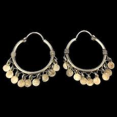Sterling Silver Hoop Earrings w/ Dancing Dangles