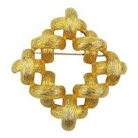 Large Signed CASTLECLIFF Pin Brooch Criss Cross XXXX