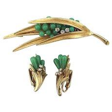 Rare Vintage Pin Earrings Set - Jade Rhinestone Fronds