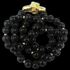 Black Onyx Bead Necklace 14K Gold Beads w/ Ram Clasp