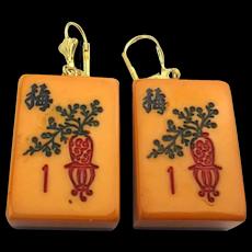Two-Color Enrobed Bakelite Mah Jong Earrings