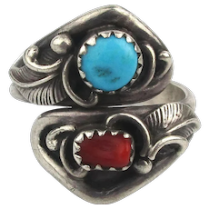 Signed Navajo Sterling Silver Ring w/ Turquoise - Coral