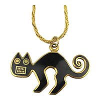 Artsy Enamel Cat Pendant 1985 MMA Metropolitan Museum of Art Necklace