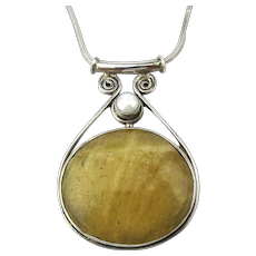 Large Citrine Stone in Sterling Silver Pendant Necklace