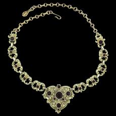 Vintage CORO Heart Rhinestone Necklace