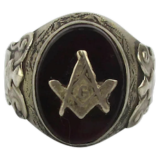 Old Mexican Sterling Silver Masonic Ring w/ Red Stone