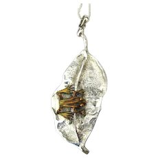 Gilded Sterling Silver Frog on a Lily Pad Pendant Necklace