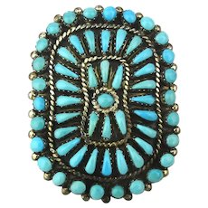HECHILAY Zuni Sterling Silver Petite Point Turquoise Pin Pendant