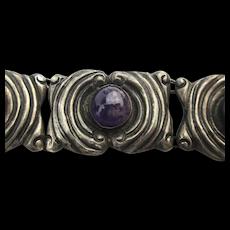 Old Mexican Sterling Silver Link Bracelet w/ Amethyst