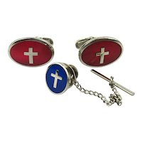 Enamel Set of Christian Cufflinks - Tie Tack - Cross