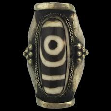Vintage Tibetan DZI Agate Stone Ring - Spiritual Lucky Amulet
