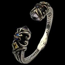 Samuel Behnam BJC Sterling Silver 18K Hinged Cuff Bracelet