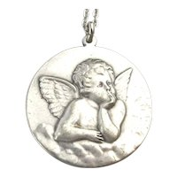 Large Pewter Guardian Angel Pendant Necklace