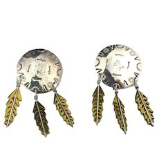 Taxco Mexico Sterling Silver Earrings Native American Style