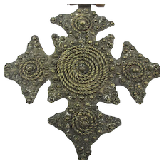 Unusual Old Copper Cross Necklace w/ Intricate Ornamentation Handcrafted