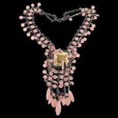 Unique Complex Rose Quartz Bead Necklace Chained Cascade