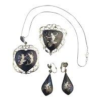 Vintage Siam Sterling Silver Niello Enamel Set - Necklace Pin Earrings