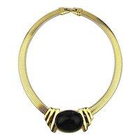 Sophisticated TRIFARI Modernist Omega Necklace w/ Black Cab