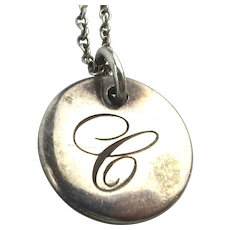Vintage Tiffany & Co. Sterling Silver ~ C ~ Pendant Necklace