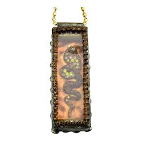 Art Box Pendant Necklace - King Cobra Snake Rhinestones Glass Copper
