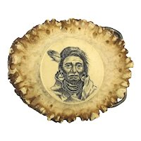 Hand Carved Elk Horn Buckle - Great Native American Face