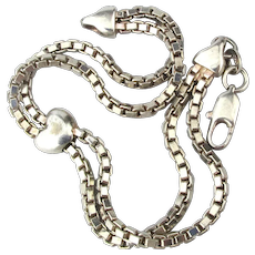 Sterling Silver Bracelet - One Heart Riding Two Box Chains