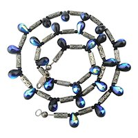 Sterling Silver Bead Necklace w/ Electric Blue Carnival Glass Drops