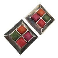 Sterling Silver Square Earrings w/ Colorful Square Stones Pierced