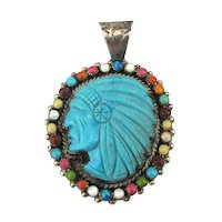Zuni Carved Turquoise CHIEF Pendant Inlaid Gems Sterling - Ronni Ramil Glodove GG