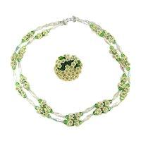 Vendome Daisy Delight Necklace Pin Set - Glass - Crystal - Rhinestones