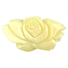 Thick Hand-Carved Mother-of-Pearl ROSE Pin Brooch