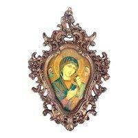 Arte Religioso Madonna Laminate Art in Gilded Brass Picture Frame