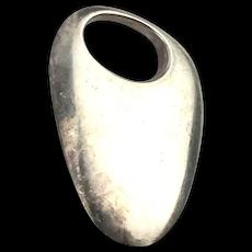 Modernist Solid Sterling Silver Slug Pendant