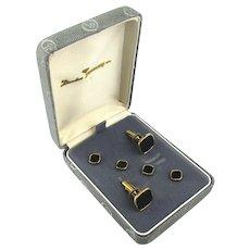 Still in Box Mens Gold-Filled Black Enamel Cufflinks Stud Set