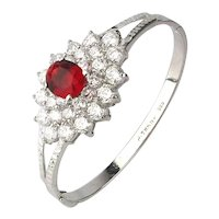Sterling Silver Jewel Topped Bracelet Faux Diamonds w/ Ruby Crystal