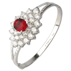 Sterling Silver Jewel Topped Bracelet Faux Diamonds w/ Ruby Crystal