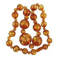 Jumbo Bakelite Amber Bead Necklace