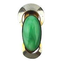 Art Deco French Clip Pendant w/ Big Green Stone