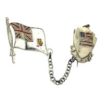 1940s WW II UK - U.S.A. United Enamel Flag Pin Pins