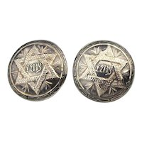 Mexican Judaica Sterling Silver Cufflinks w/ Star of David