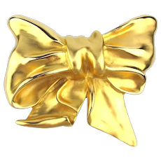 Huge 1985 Margarita Barrera 18K Goldplate Bow Buckle