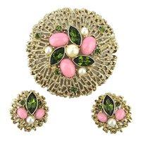 Vintage Sarah Cov Big Jeweled Pin w/ Clip Earrings Set