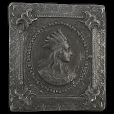 Native American INDIAN Portrait 1975 Bergamot Silvered Brass Belt Buckle