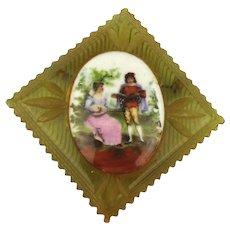 1930s Carved Bakelite Pin w/ Porcelain Romantic Scene