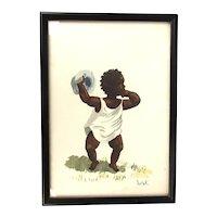 Original Watercolor Painting Black Child by NANK Studio Barbados - Framed